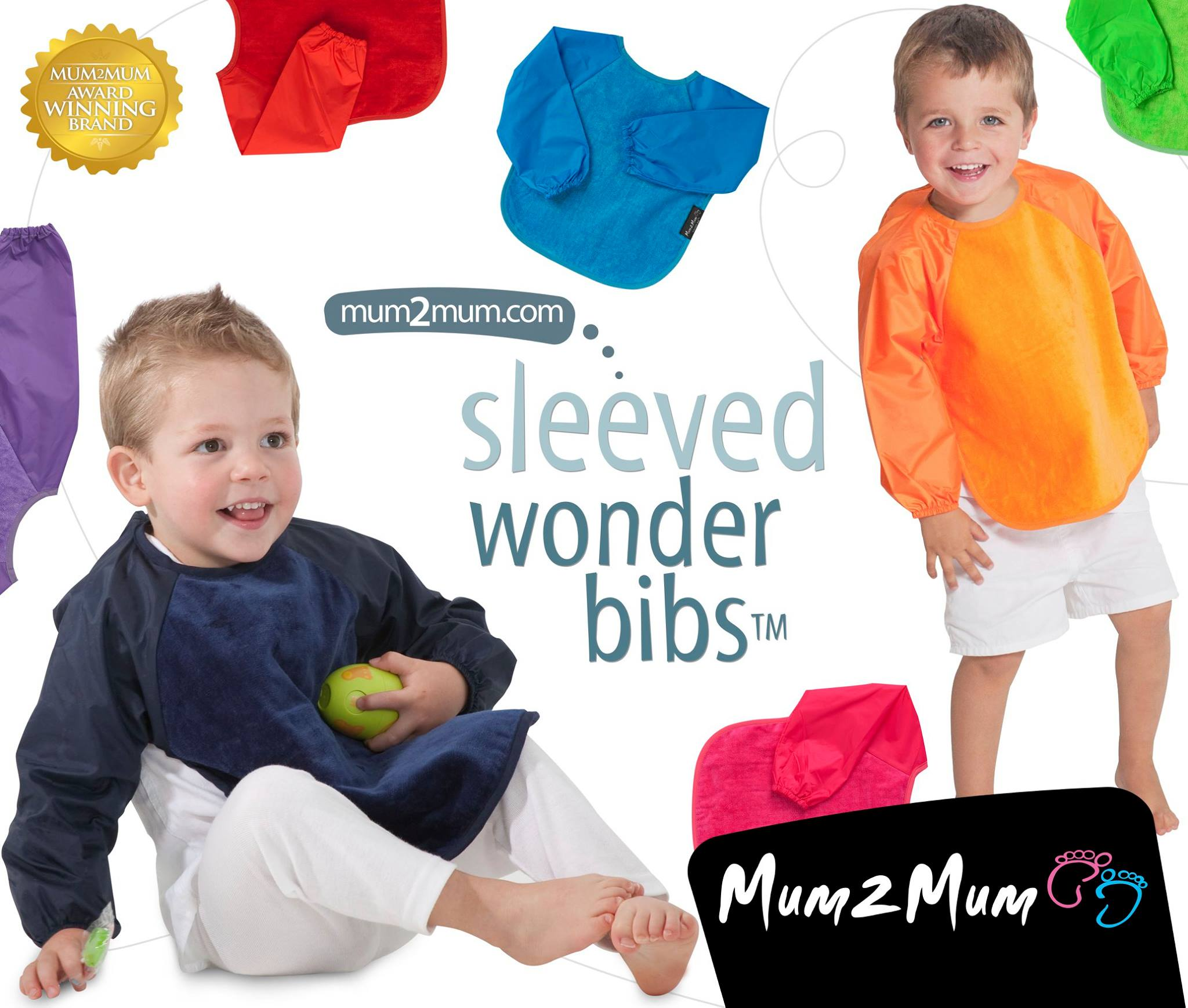 Mum2Mum sleeve bibs - small & large